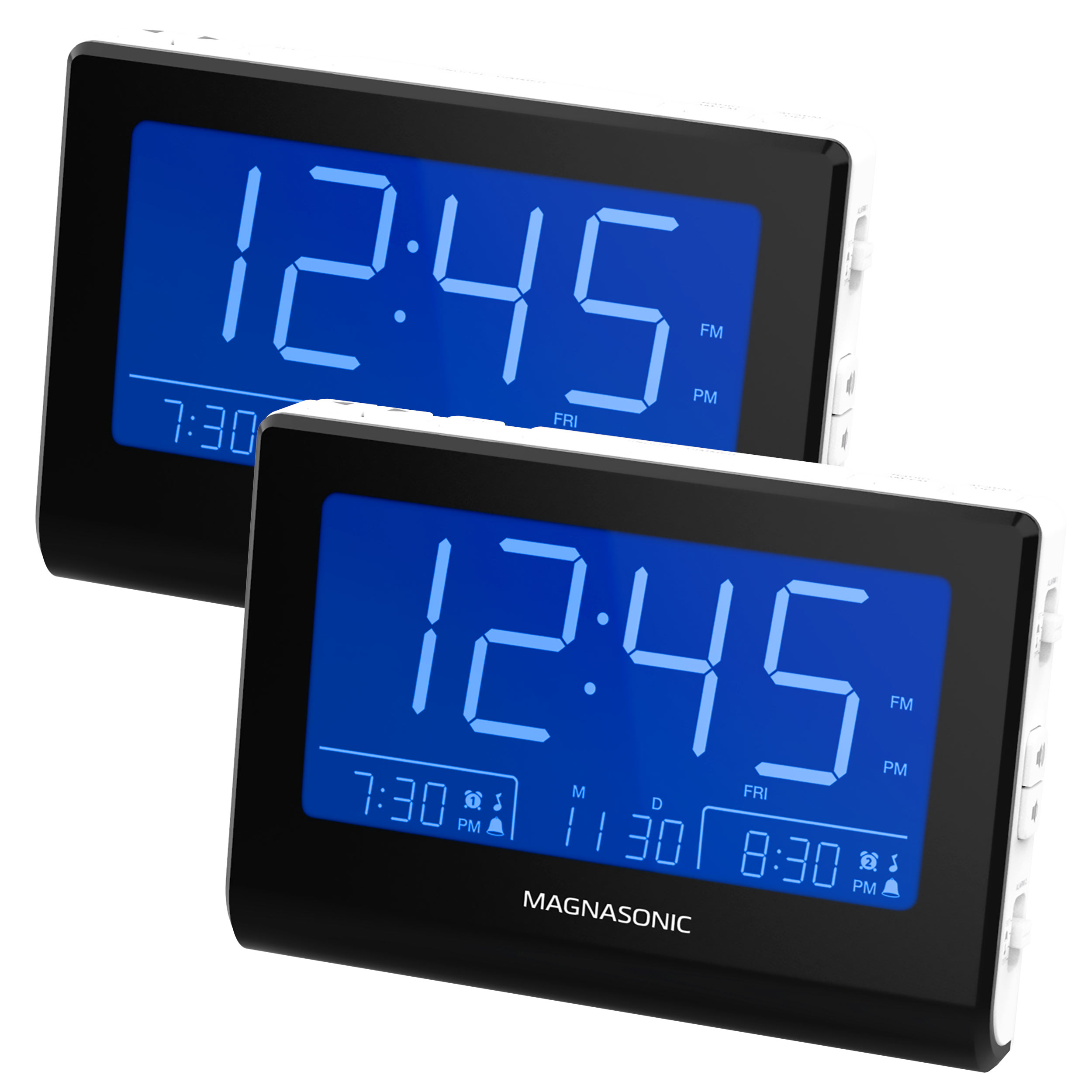 "Magnasonic Alarm Clock Radio with Battery Backup, Dual Gradual Wake Alarm, Adjustable Brightness, Daylight Savings Time, Large 4.8"" LED Display, AM/FM, Sleep Timer, Day/Date Display (CR61W) - 2 Pack"