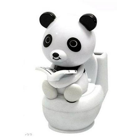 A Panda Reading on Toilet Bowl Solar Toy Car Dashboard Office Desk Display Home Decor Birthdady Gif (Solar Dancing Toys)