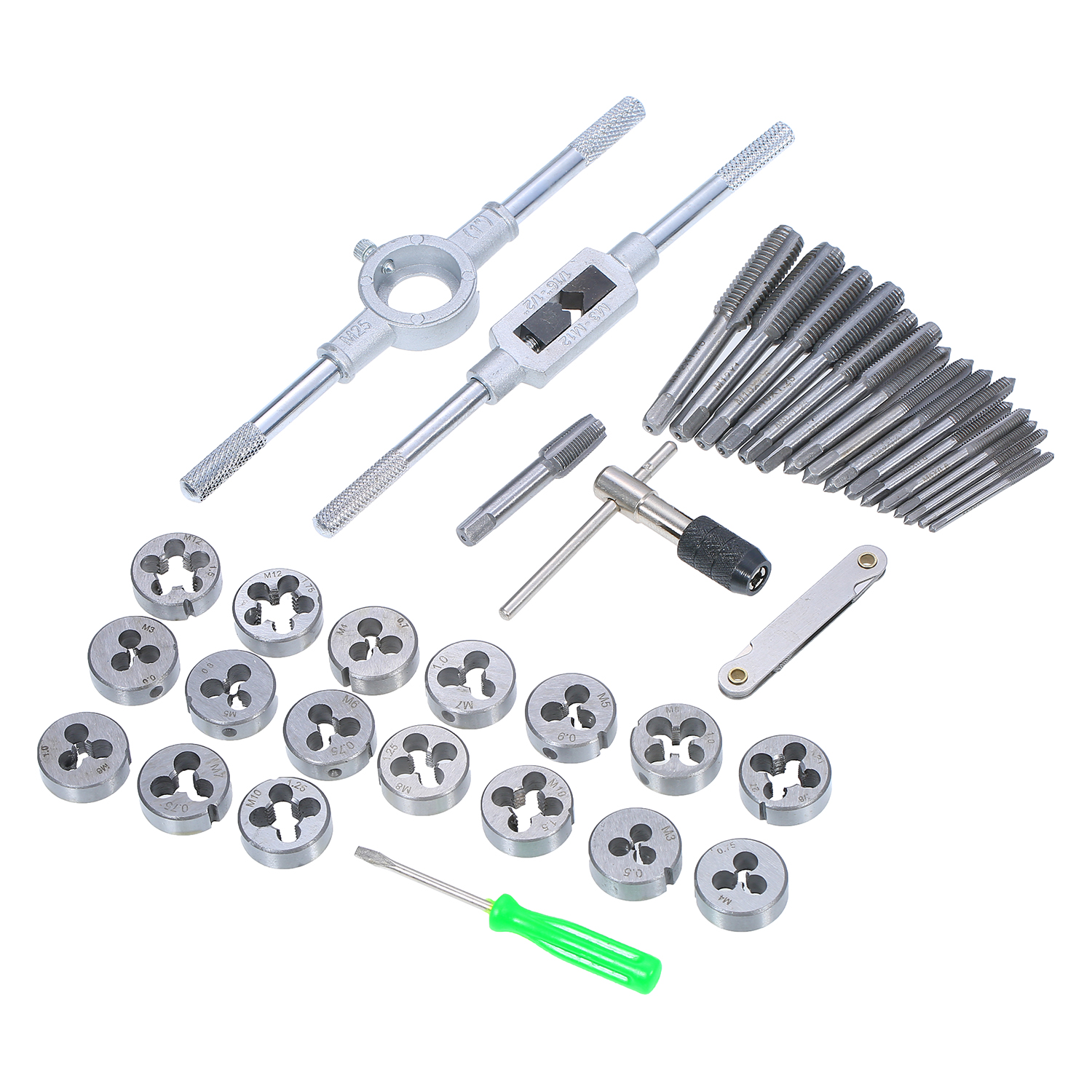 Inch Metalworking Hand Tool Screw Tap Threading Die /& Wrench Holder Kit w// Case