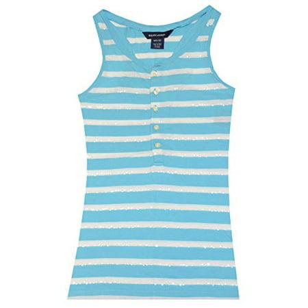 Ralph Lauren Girls Stripe Sequins Sleeveless Top (XL(16), Sailing