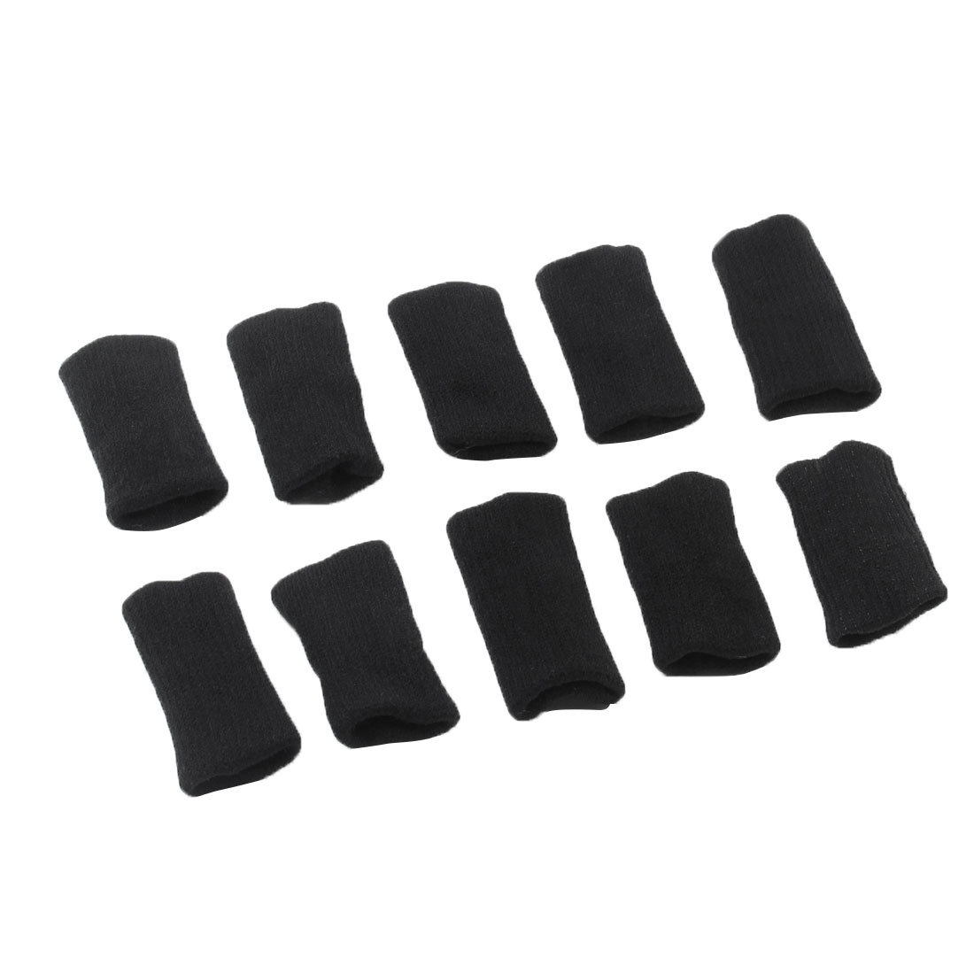 Unique Bargains 10Pcs Black Ball Games Stretchy Finger Sleeves Protector Wrap Support for Adult