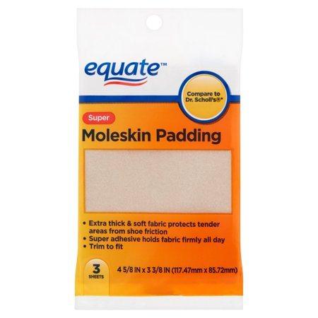 (4 Pack) Equate Super Moleskin Padding Sheets, 3 (Heavy Moleskin)