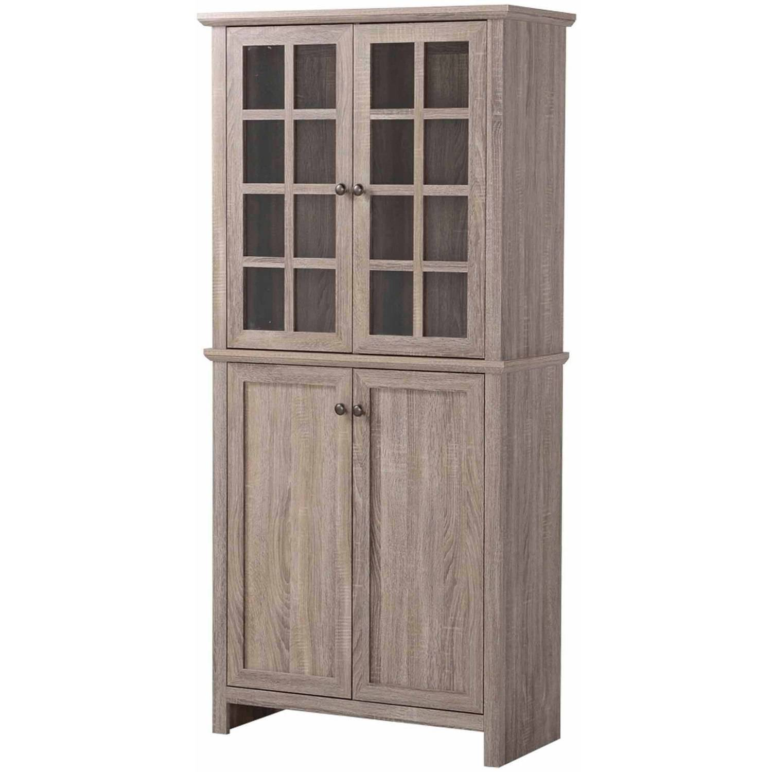 Homestar 2 Door Glass Storage Cabinet Reclaimed Wood Walmart