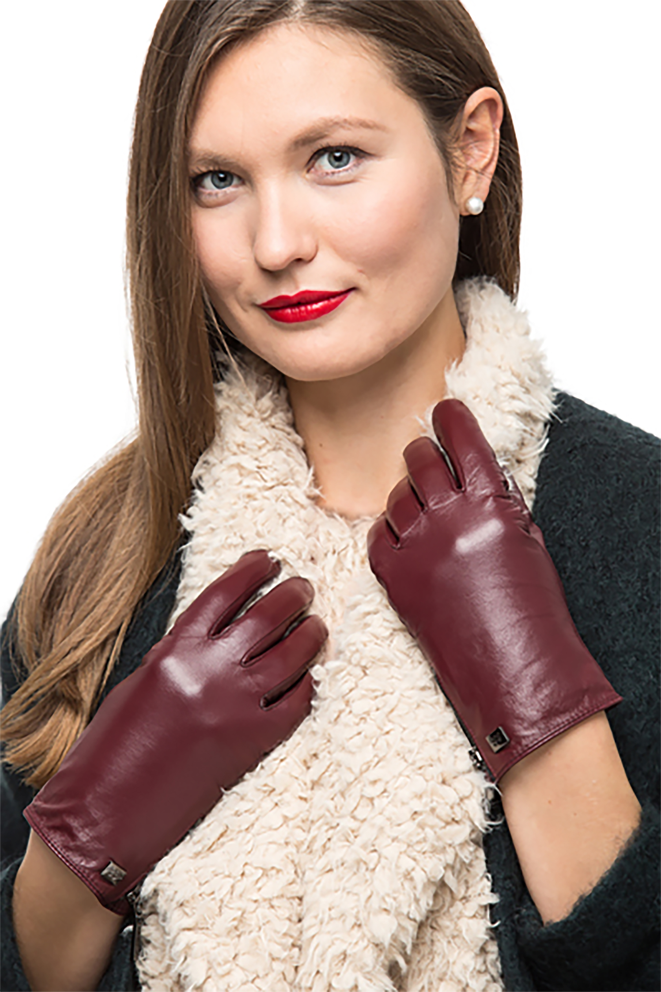 Chocolate Womens Genuine Nappa Sheepskin Leather Lined Gloves