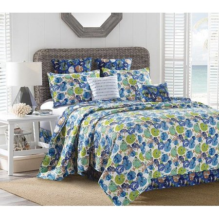 Reversible Coastal Beach Seashell Quilt Set Catalina - King Size