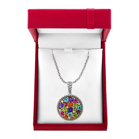 Amethyst, Blue Topaz, Citrine, Garnet, 927 Sterling Silver and 18K Yellow Gold Necklace](Betsey Johnson Halloween Necklace)