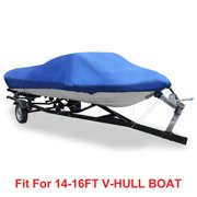 V-Hull 210D Waterproof Boat Cover 14'-16' Trailerable Blue