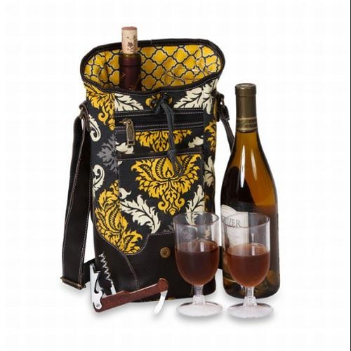 Contemporary Insulated Bottle Wine Carrier w/ Accessories - Provence Flair