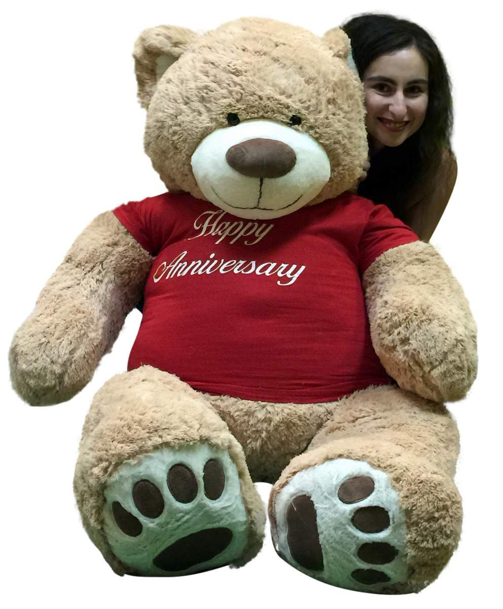 Happy Anniversary Giant 5 Foot Teddy Bear 60 Inch Soft T-Shirt Says HAPPY ANNIVERSARY by BigPlush