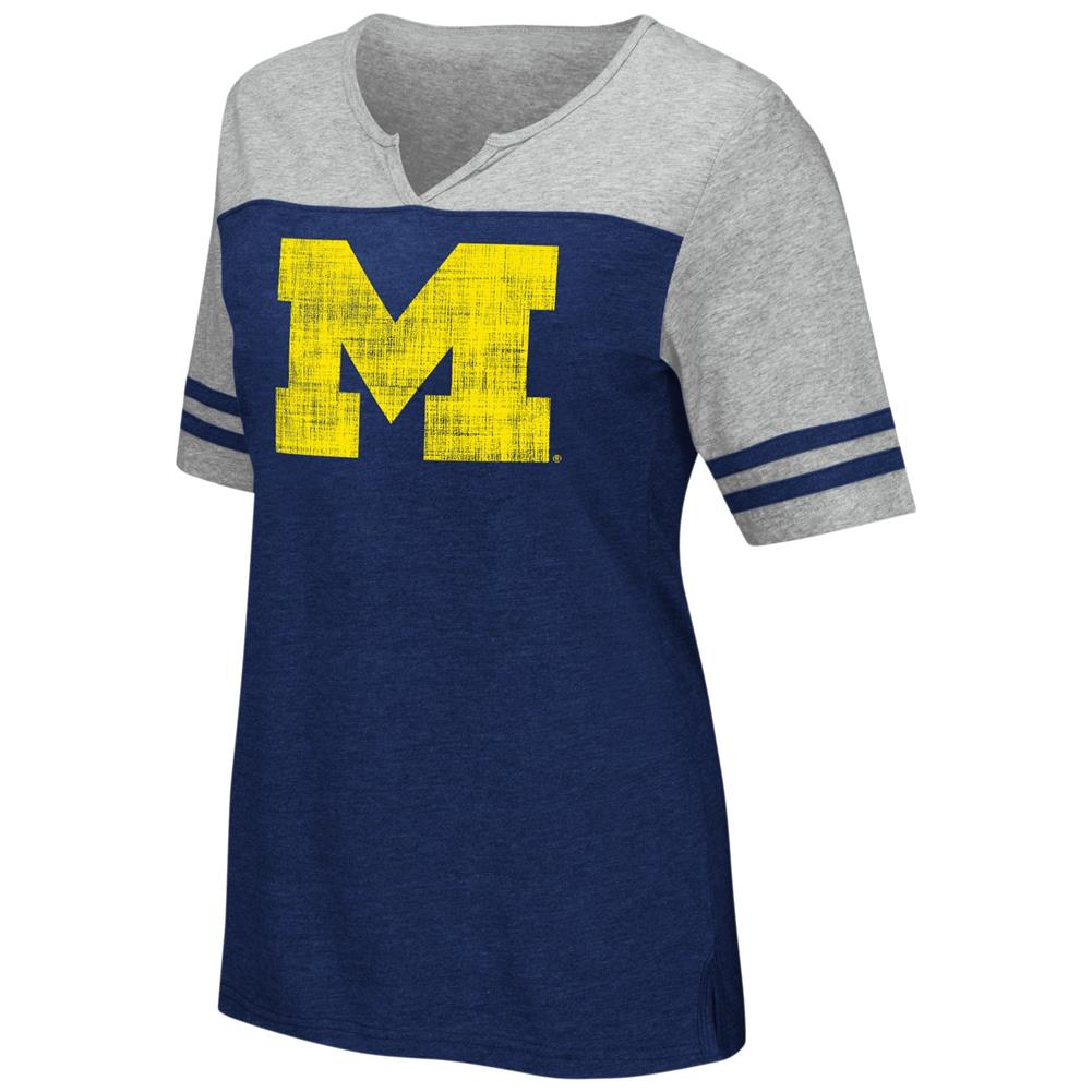 University of Michigan Wolverines V-Neck Tee On A Break Fashion T-Shirt