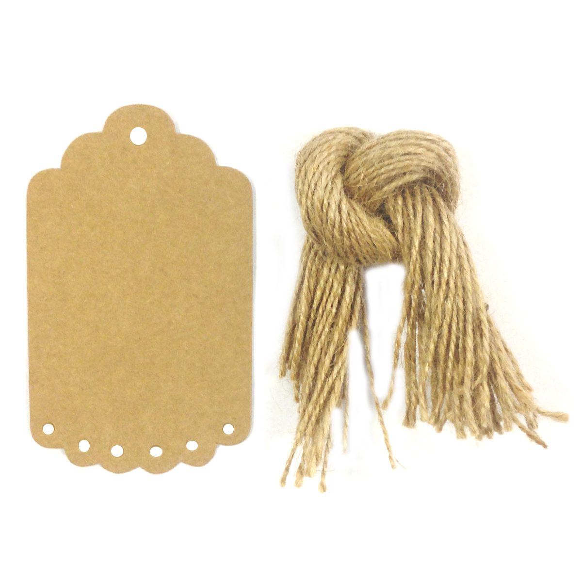 Wrapables® 50 Gift Tags/Kraft Scalloped Edge Hang Tags with Free Cut Strings for Gifts, Crafts and Price Tags, Large