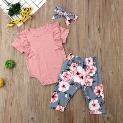 3PCS Toddler Baby Kids Girl Romper Top+Shorts Pants Outfits Sunsuit Clothes Set
