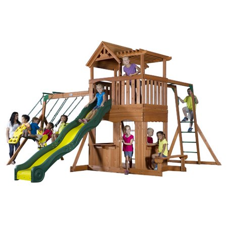 backyard discovery thunder ridge all cedar swing set