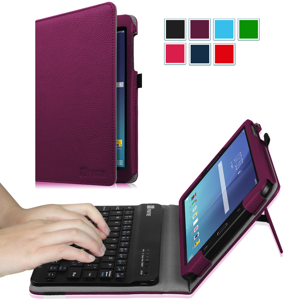 Fintie Samsung Galaxy Tab E 8.0 Tablet Keyboard Case - Slim Fit Stand Cover with Removable Bluetooth Keyboard, Purple