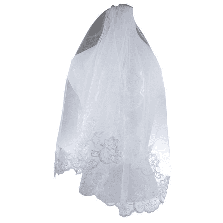 Lux Accessories Bride Bridal Wedding Floral Flower Lace Trimming Veil - Cheap Wedding Accessories