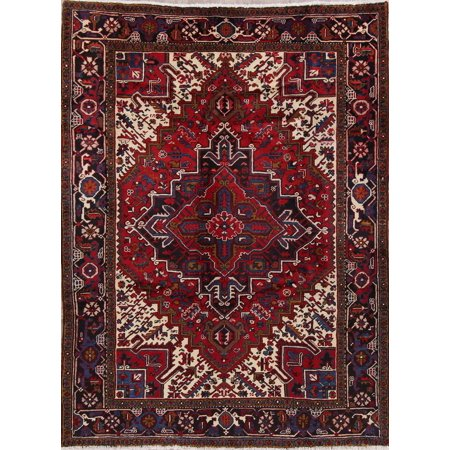 Rugselect Geometric Hand Knotted Wool Vintage Red 6x9 Oriental