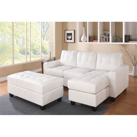 Bowery Hill Bonded Leather Sectional with Ottoman in White