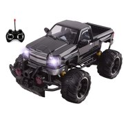 Big Wheel Beast RC Monster Truck Remote Control Doors Opening Car Light Up With LED Headlights Ready to Run INCLUDES RECHARGEABLE BATTERY 1:14 Size Off-Road Pick Up Buggy Toy (Black)