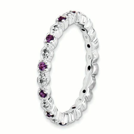 Sterling Silver Stackable Expressions Amethyst & Diamond Ring Size 7 - image 2 of 3