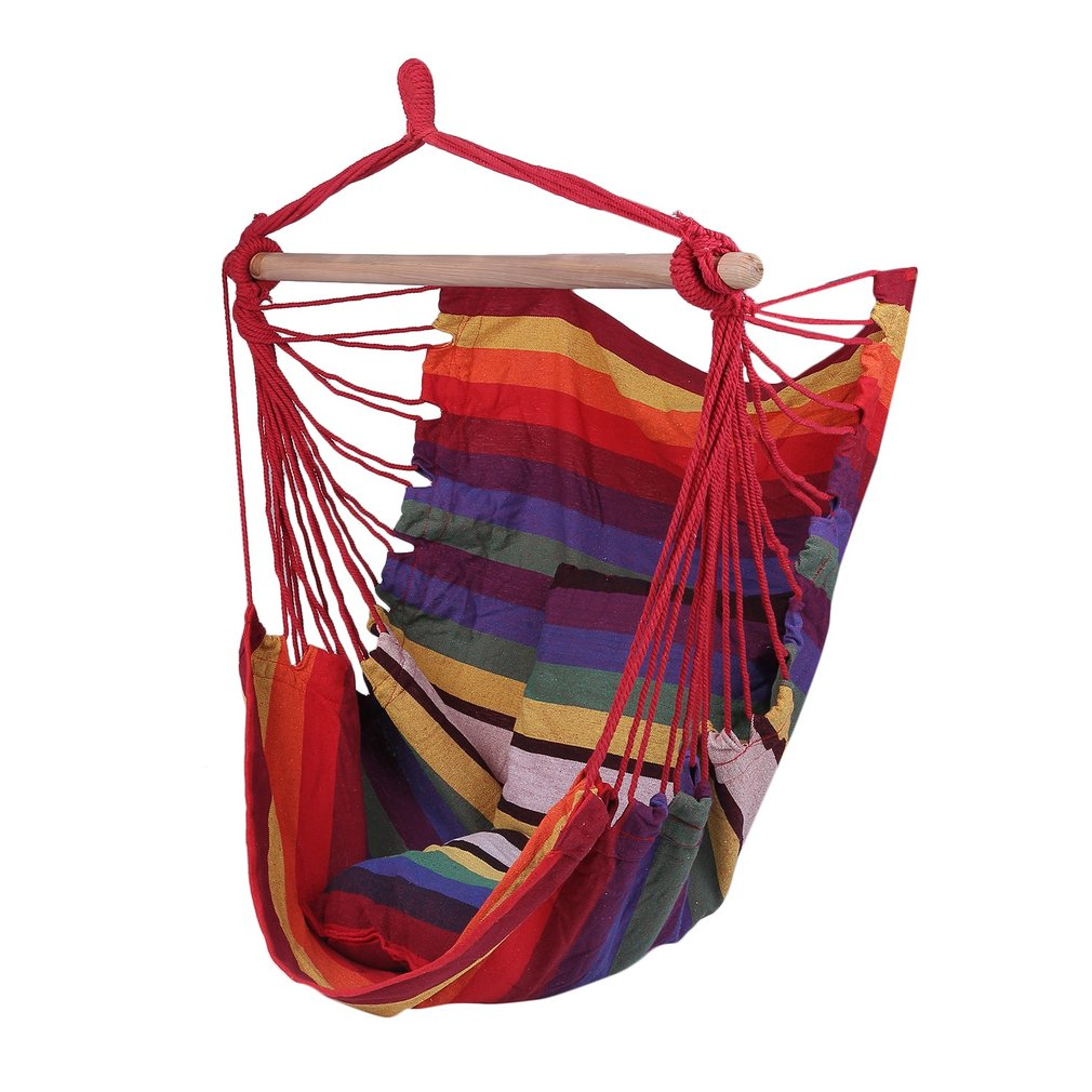 Portable Folded Outdoor Indoor Sleeping Rope Chair Swing Bed Hanging Hammock  Chair Porch Swing Seat With