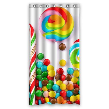 GCKG Candy Sweets Sugar Halloween Bathroom Shower Curtain, Shower Rings Included 100% Polyester Waterproof Shower Curtain 36x72 (70's Halloween Candy)