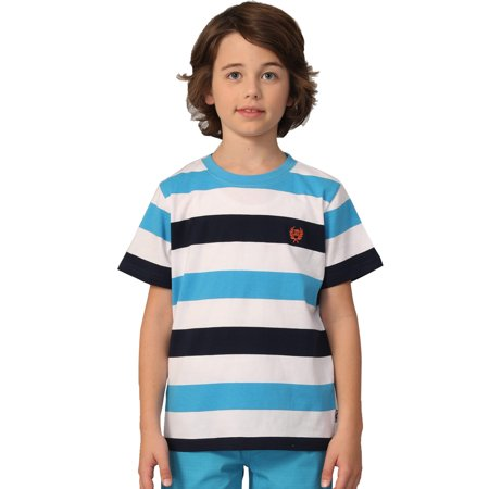 Leo&Lily Big Boys Short Sleeve Color Stripe Crew-neck T-Shirts