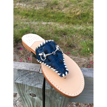 Palm Beach Sandals WELL002-6.5 Hand Crafted Womens Leather Sandals, Navy Croc & Platinum - Size 6.5
