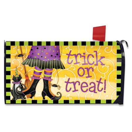 Trick or Treat Witch Halloween Mailbox Cover Black Cat Standard Briarwood Lane