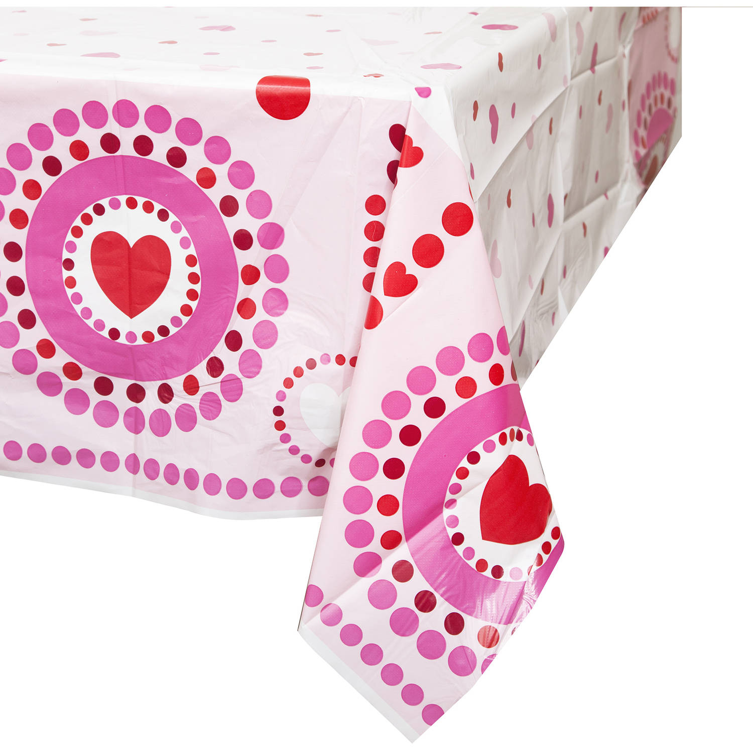 "Plastic Radiant Hearts Valentine's Day Table Cover, 84"" x 54"""