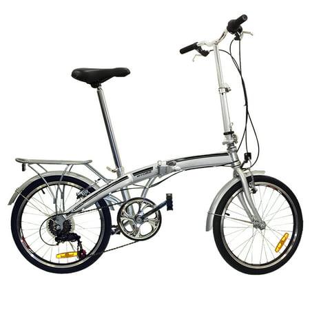 Folding Bike 20 Shimano 6 Speed Bike Fold Storage Silver College