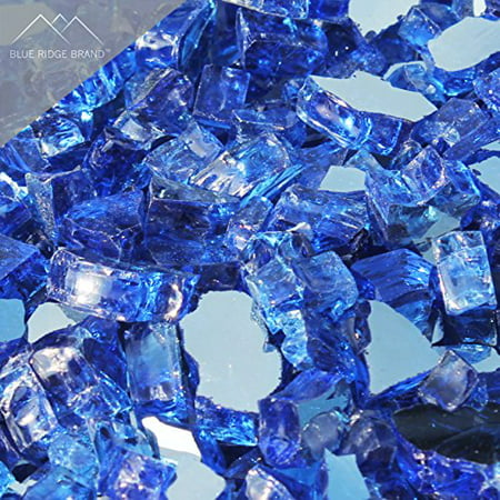 """Image of """"Fire Pit Glass - Cobalt Blue Reflective Fire Glass 1/2"""""""" - Reflective Fire Pit Glass Rocks - Blue Ridge Brand™ Reflective Glass for Fireplace and Landscaping 3, 5, 10, 20, 50 Pounds"""""""