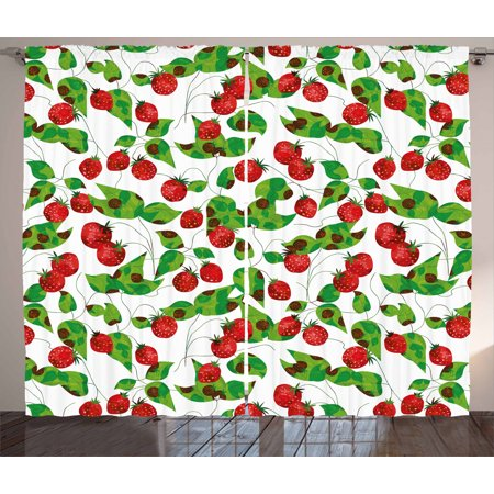 Fruits Curtains 2 Panels Set, Summer Vibes with Strawberry Branch Garden Leaf Nature Joyful Season Print, Window Drapes for Living Room Bedroom, 108W X 108L Inches, Red Fern Green White, by Ambesonne
