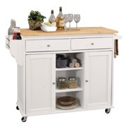 Bowery Hill Mobile Kitchen Island in Natural and White