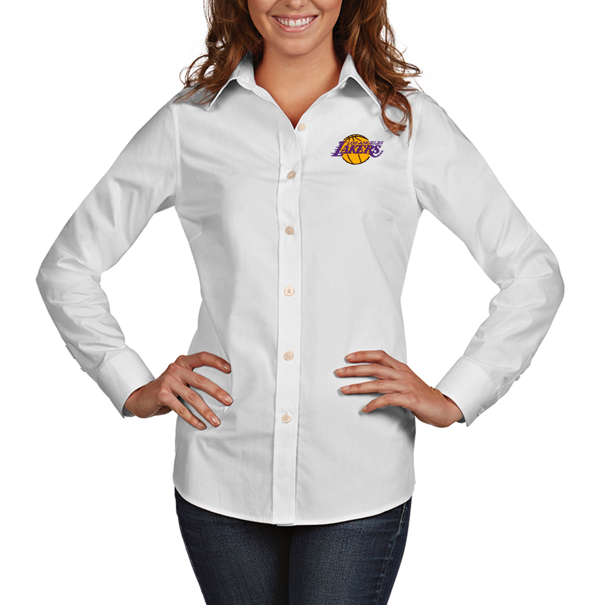 Los Angeles Lakers Antigua Women's Dynasty Woven Button-Up Long Sleeve Shirt - White