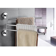 Bath Towel Holder Wall Mounted Swing Out Towel Bar Bathroom Stainless Steel Hand Towel Rack 3-Bar Folding Arm Swivel Hanger ( 3 Bars)