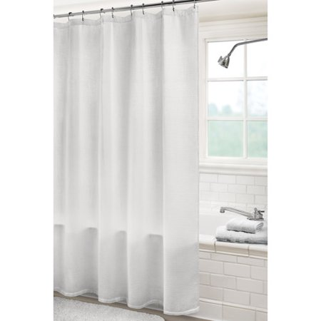 Canopy solid white waffle shower curtain for White canopy curtains