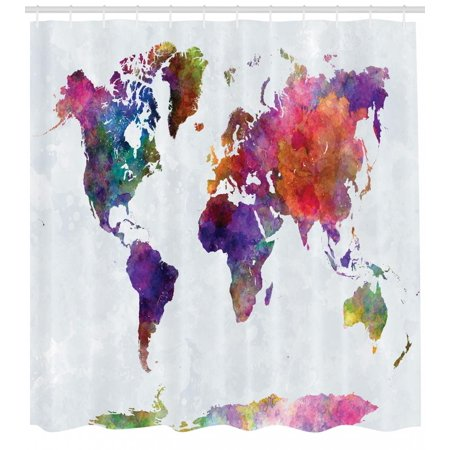 Watercolor Shower Curtain Multicolored Hand Drawn World Map Asia Europe Africa America Geography Print Fabric Bathroom Set With Hooks Multicolor