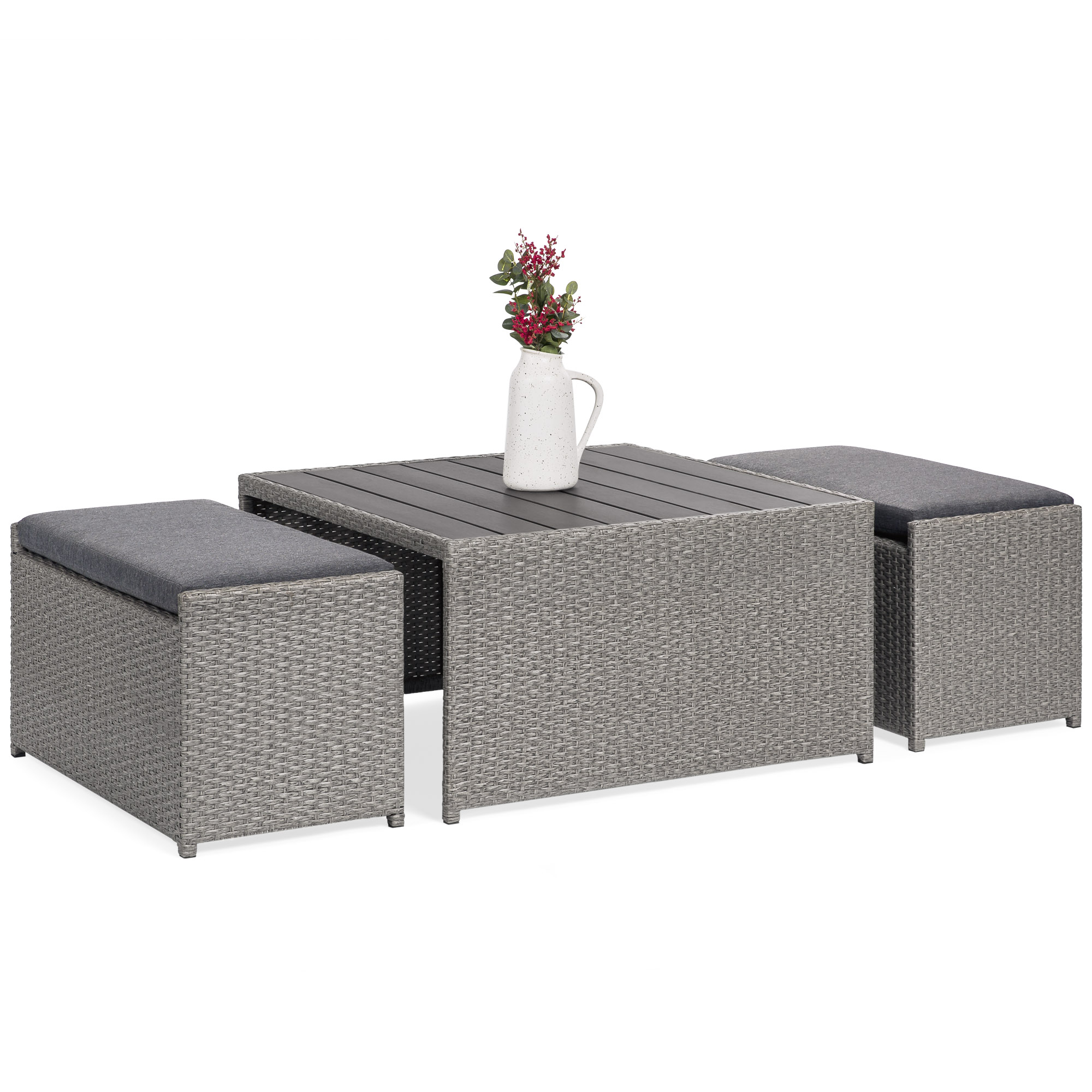Best Choice Products 3 Piece Outdoor Modern Wicker Coffee Table Set For Patio Porch W 2 Ottoman Benches Gray Walmart Com Walmart Com