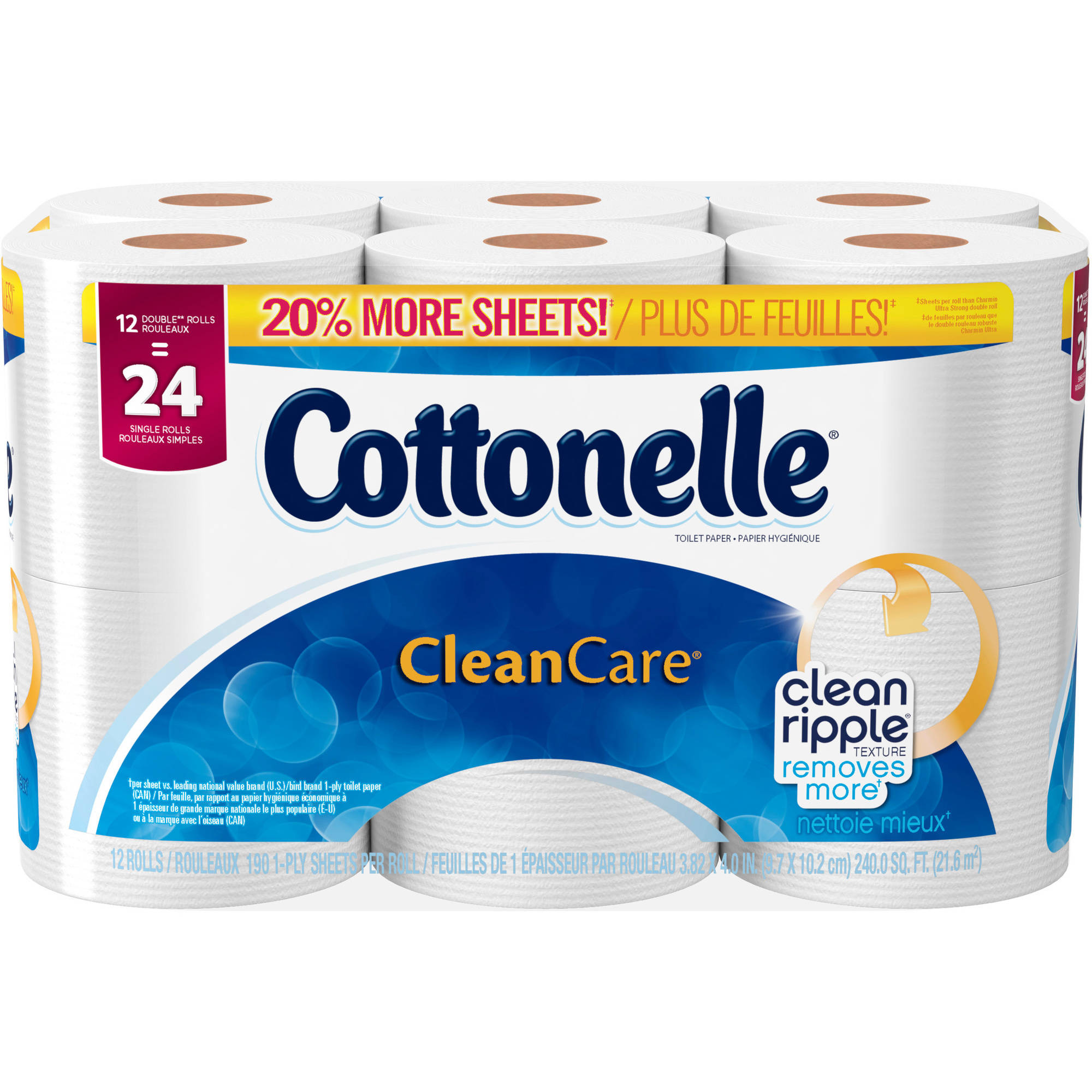 Cottonelle Clean Care Double Roll Toilet Paper, 190 sheets, 12 rolls