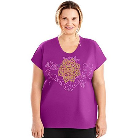 Womens Plus Size Active Dolman Graphic Tee - Paisley Peace and Plum Dream, 5X
