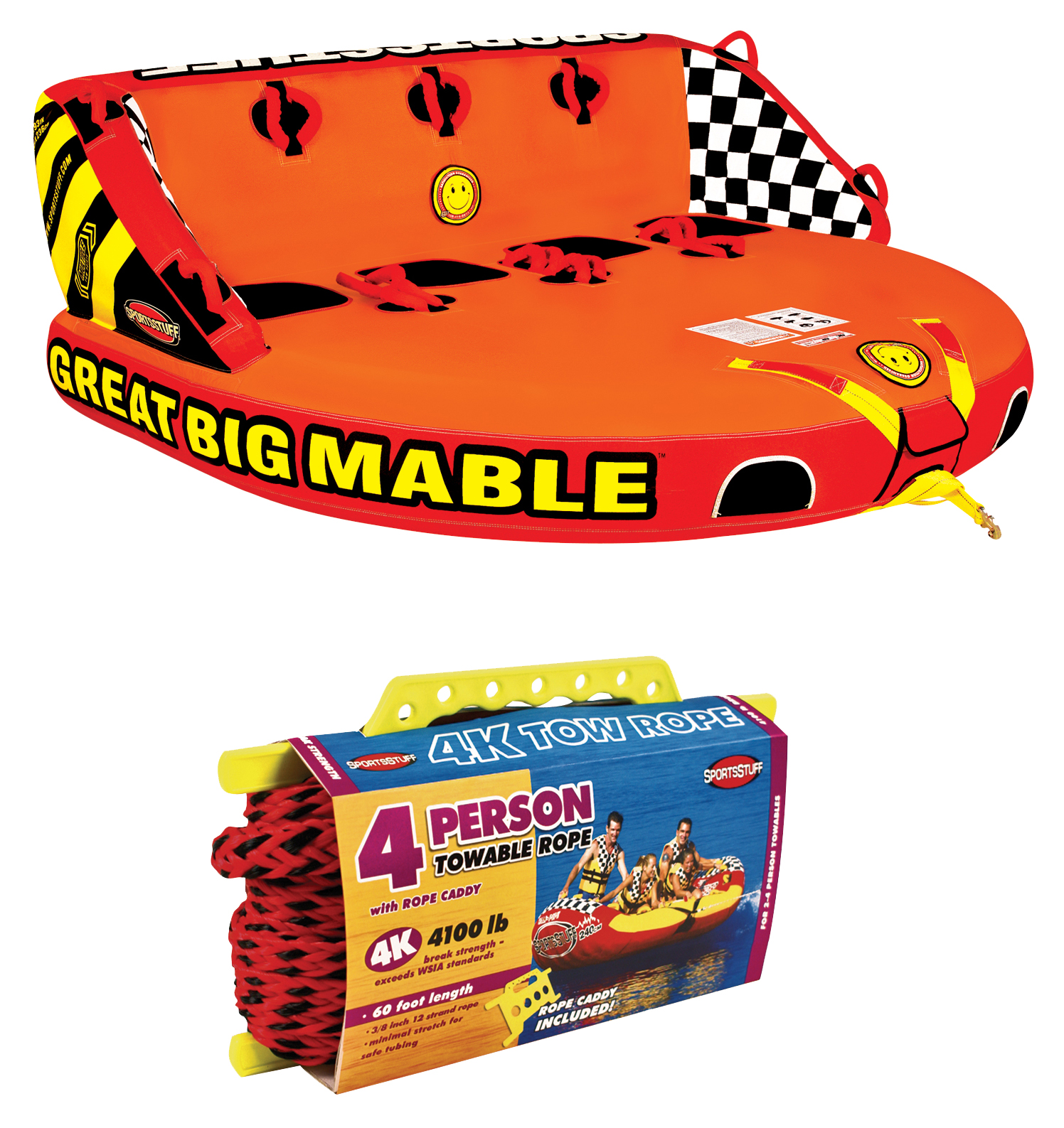 Click here to buy SPORTSSTUFF 53-2218 Great Big Mable 4-Rider Inflatable Towable Tube w  Tow Rope by Kwik Tek.