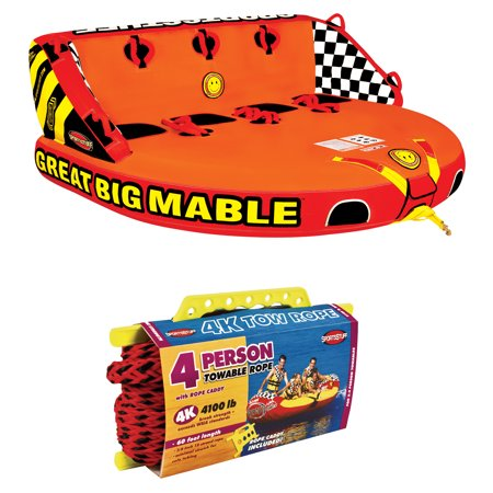 SPORTSSTUFF 53-2218 Great Big Mable 4-Rider Inflatable Towable Tube w/ Tow Rope
