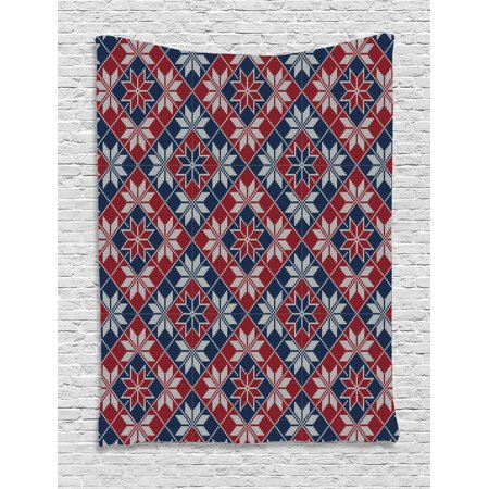 Nordic Tapestry, Wool Knit Pattern with Tartan Geometric Stripes Flower Figures Print, Wall Hanging for Bedroom Living Room Dorm Decor, 40W X 60L Inches, Ruby Dark Blue Coconut, by Ambesonne