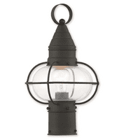 Outdoor Post 1 Light Newburyport With Hand Crafted Solid Brass Hand Blown Clear Black size 15 in 100 Watts - World of Crystal