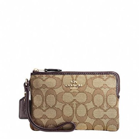 Coach Outline Signature Small Corner Zip Wristlet F58033 (Corner Zip Wristlet In Signature Debossed Patent Leather)