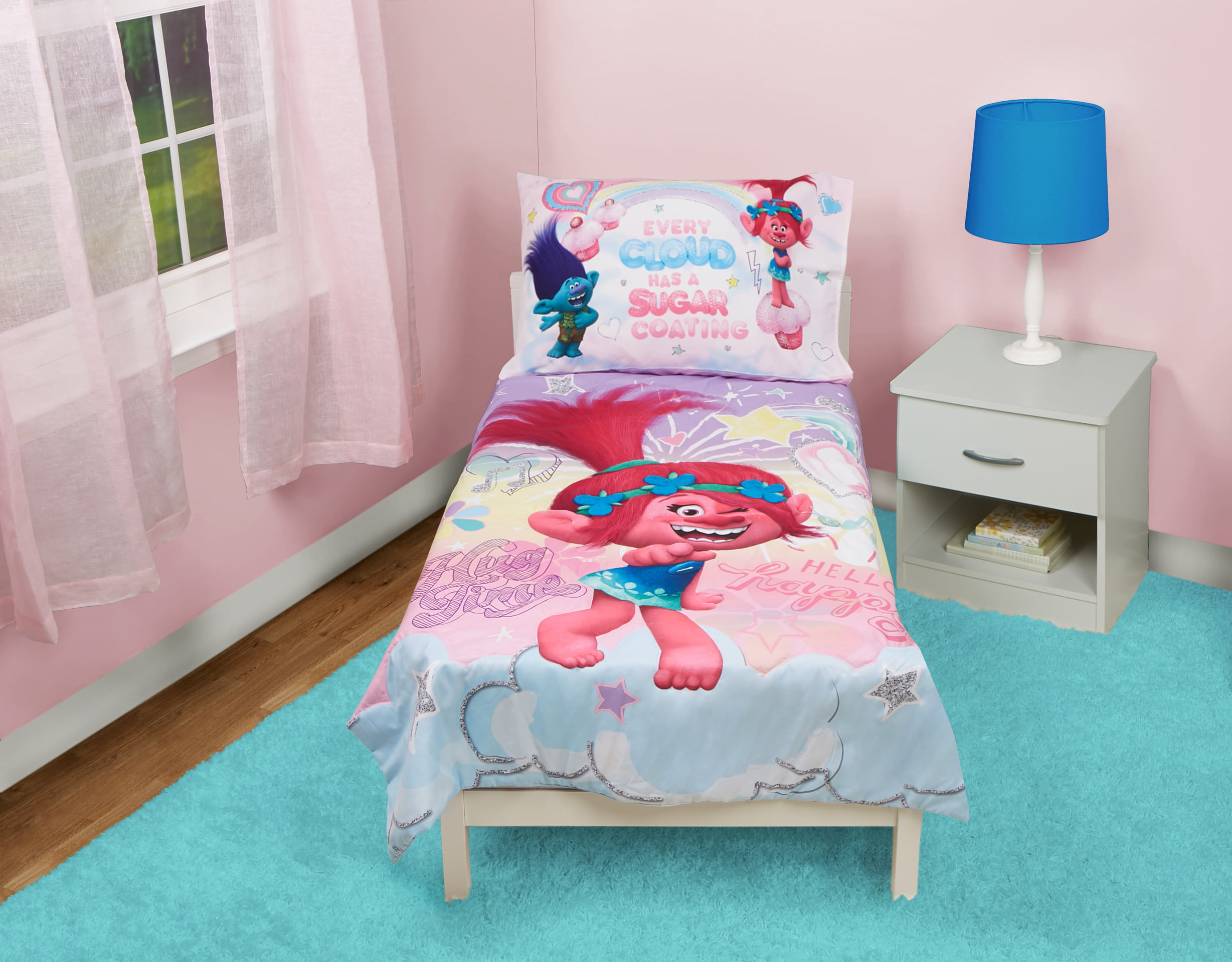 Trolls 4 Piece Hug Time Toddler Bedding Set Walmart Com Walmart Com