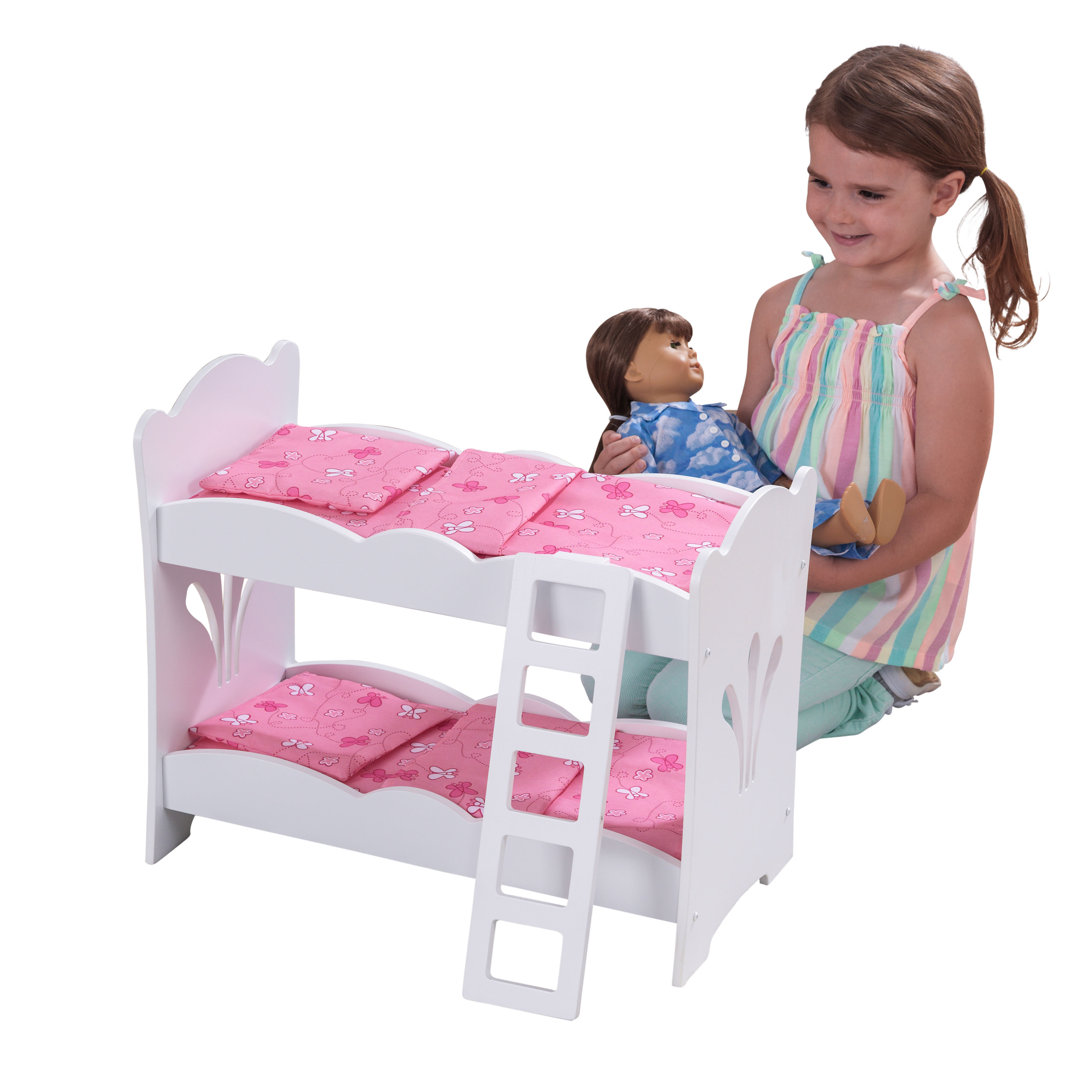 KidKraft Wooden Lil' Doll Bunk Bed with Bedding Set, Furniture for 18-Inch Dolls - White