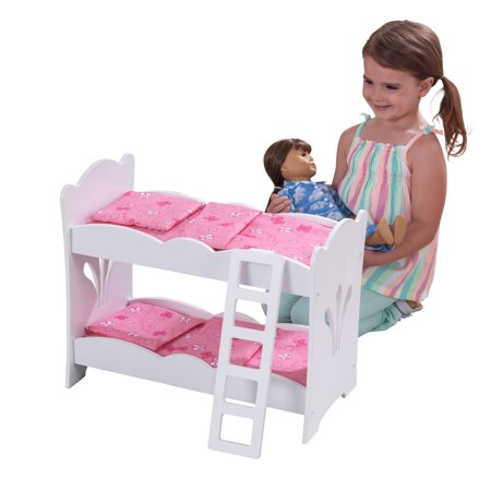 Wooden Baby Doll Furniture (KidKraft Wooden Lil' Doll Bunk Bed with Bedding Set, Furniture for 18-Inch Dolls -)