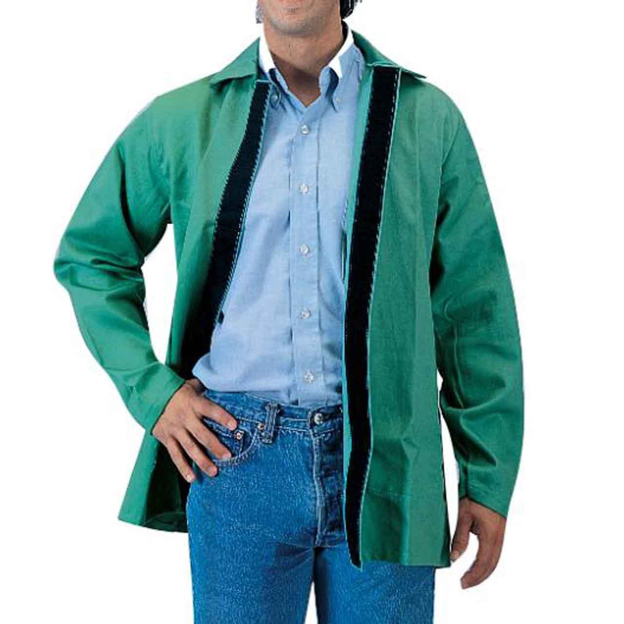 """Tillman 6230V 30"""" 9 oz. Green FR Cotton Welding Jacket W/Hook and Loop, Large"""