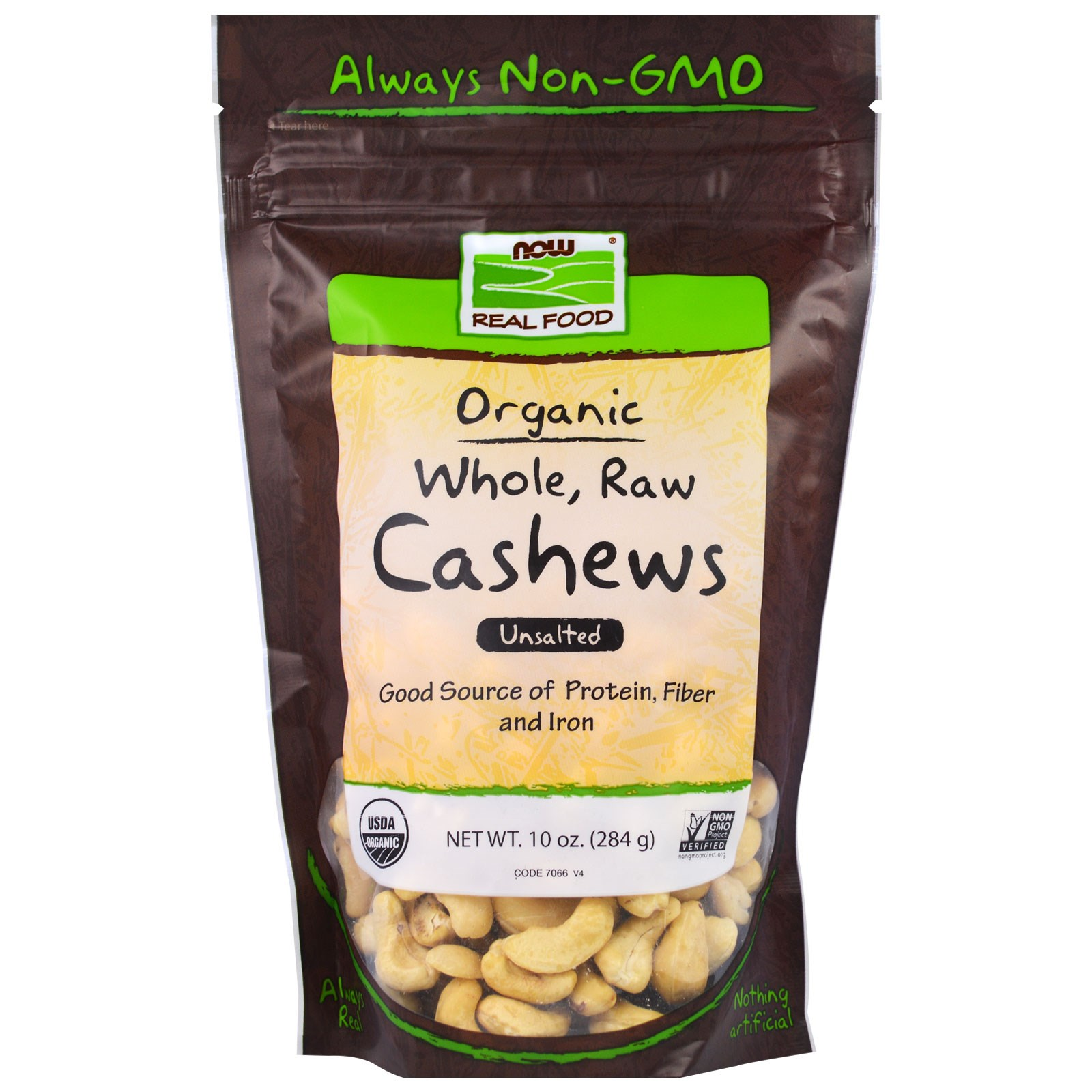 NOW Foods, Real Food, Organic, Whole, Raw Cashews, Unsalted, 10 oz (pack of 12)
